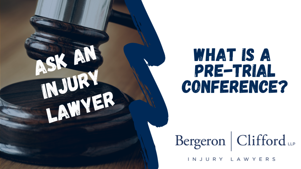 Ask an Injury Lawyers - What's a pre-trial conference - Cover image of gavel