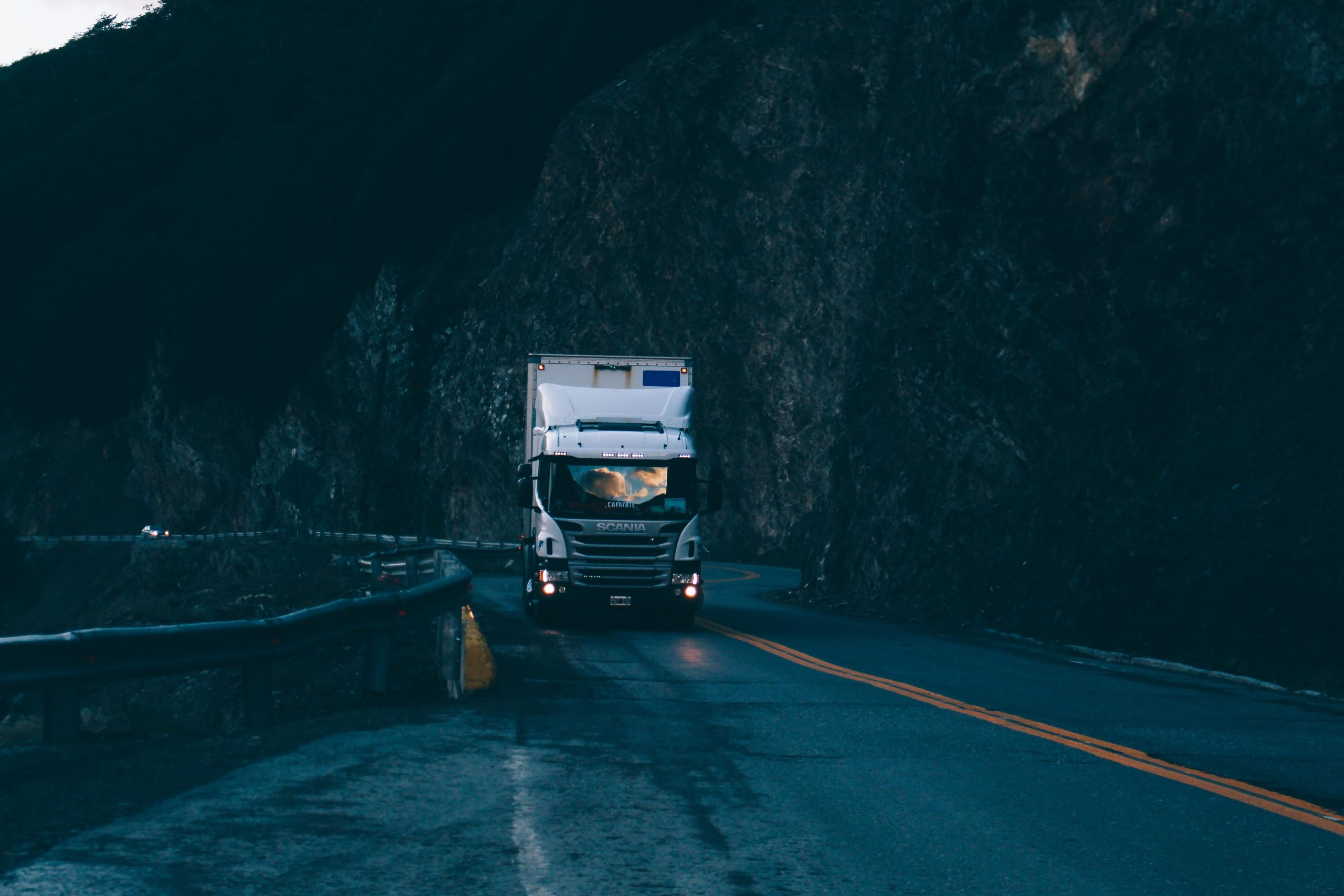 a commercial truck on a highway